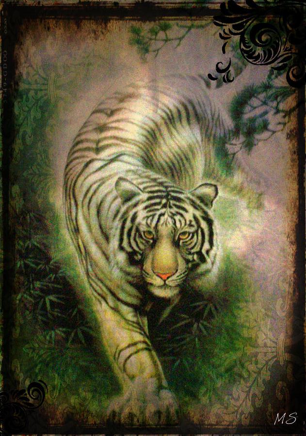 White Tiger Digital Art - The White Tiger - Vintage Style by Absinthe Art By Michelle LeAnn Scott