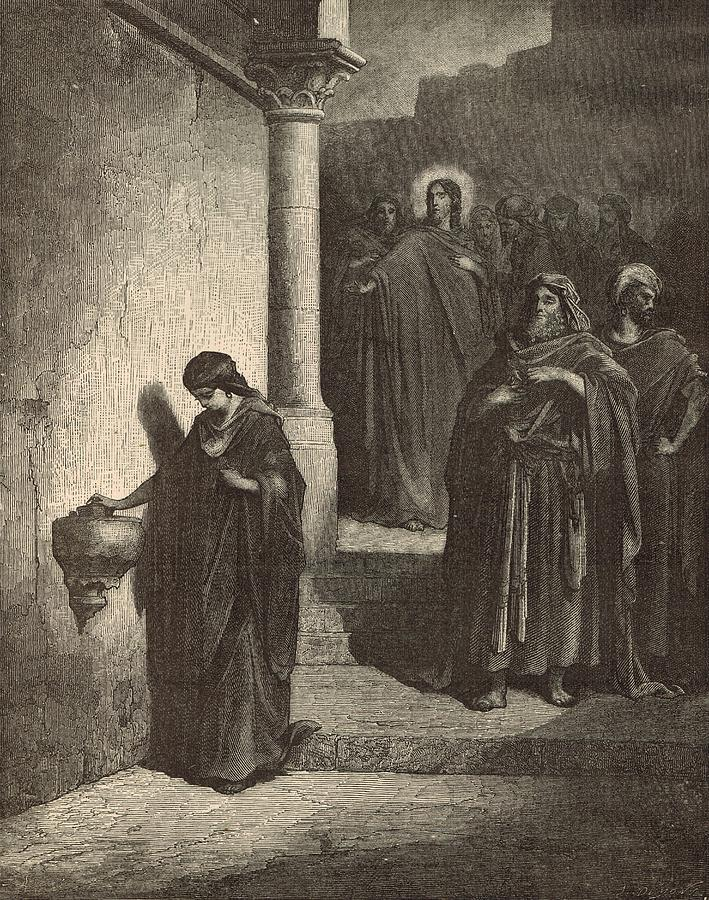Biblical Drawing - The Widows Mite by Antique Engravings