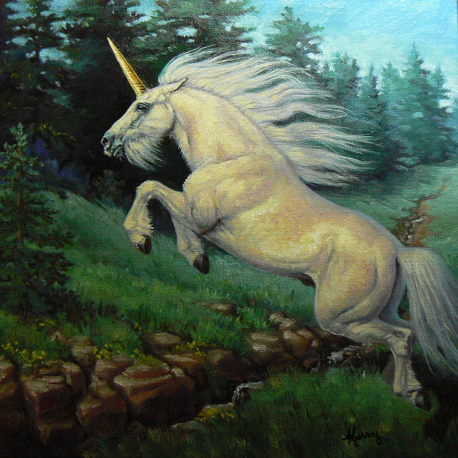 Unicorns Painting - The Wild Heart by Kerry Nelson