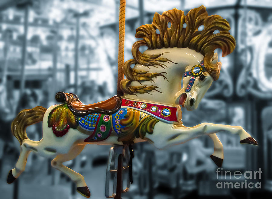 Carousel Photograph - The Wild Stallion by Colleen Kammerer