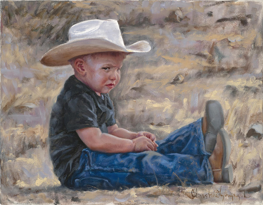 Cowboy Painting - The Will to Win by Christine Lytwynczuk