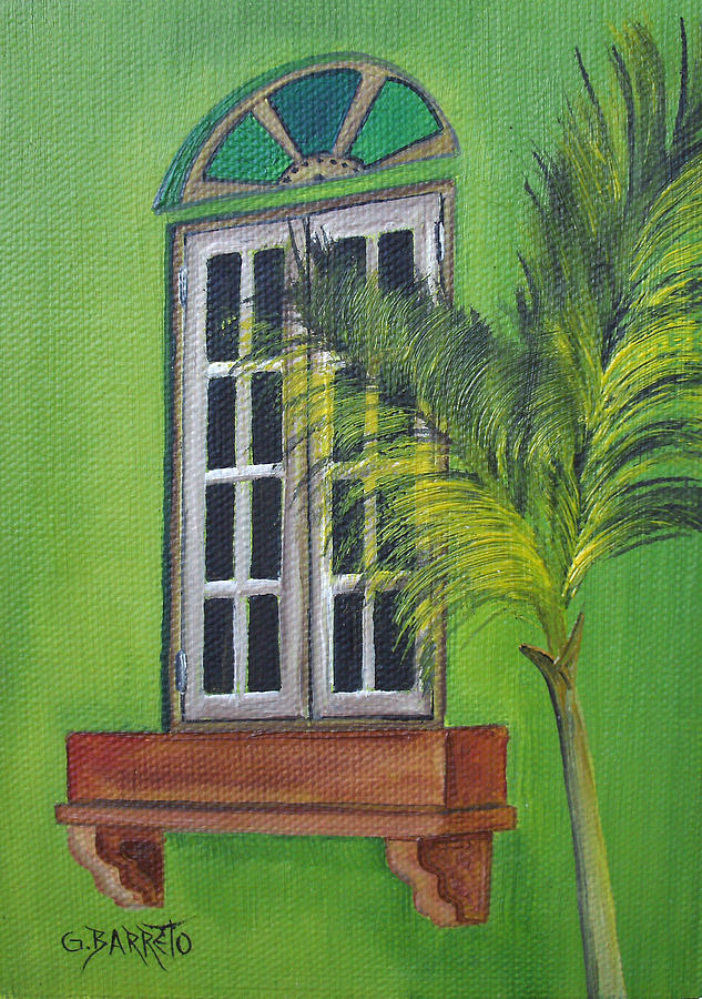 Window Painting - The Window by Gloria E Barreto-Rodriguez