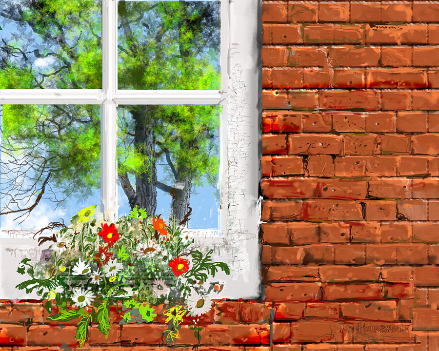 Summer Drawing - The Window Triptych Summer by Jim Hubbard