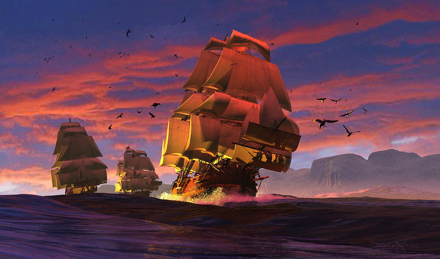 Sailing Ships Digital Art - The Winds Of Triton by Dieter Carlton