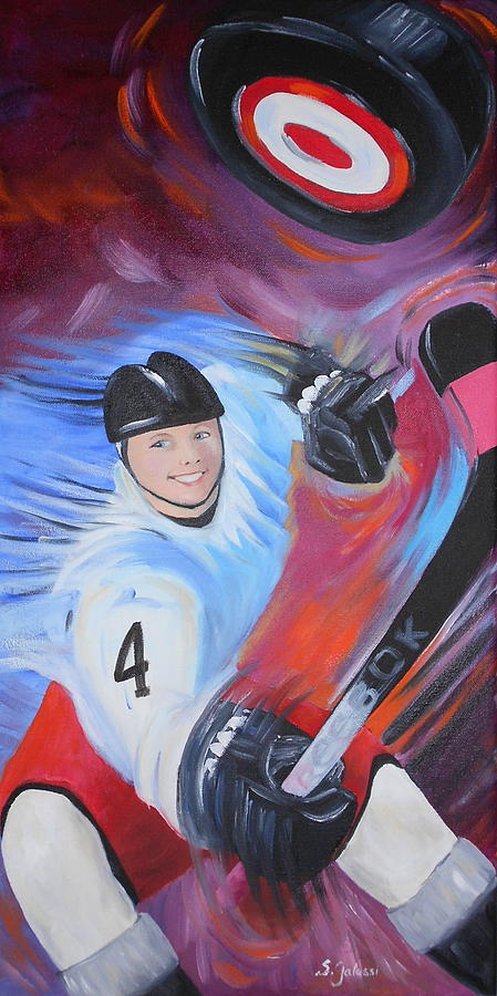 Hockey Painting - The Winning Point by Susan Galassi