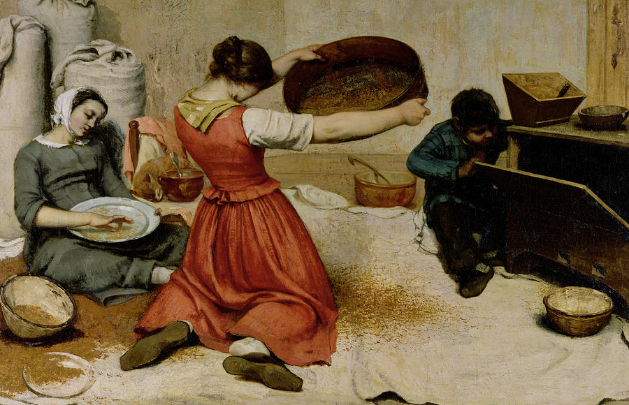 Courbet Painting - The Winnowers by Gustave Courbet