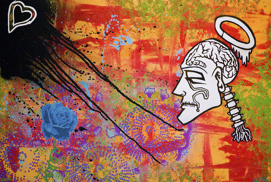 Abstract Painting - The Wise Man Strays Far From The Heart by Bobby Zeik