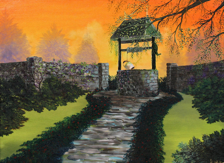 Wishing Well Painting - The Wishing Well by David Kacey