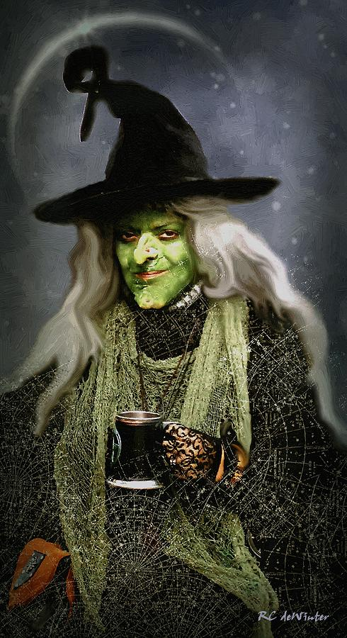 Costume Painting - The Witch Of Endor As A Cavalier by RC deWinter