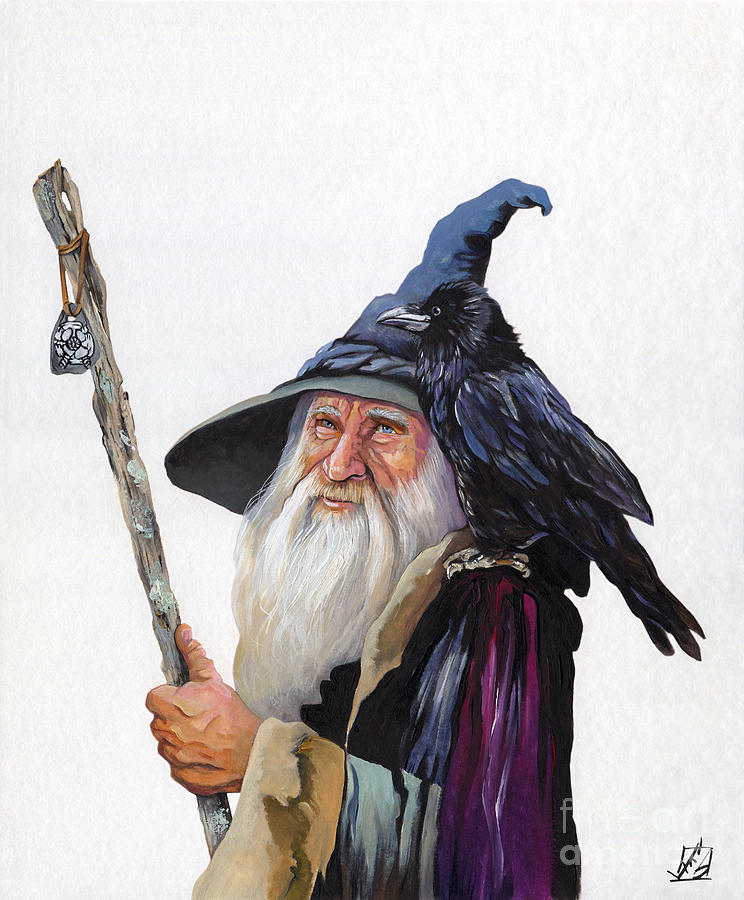 Wizard Painting - The Wizard And The Raven by J W Baker