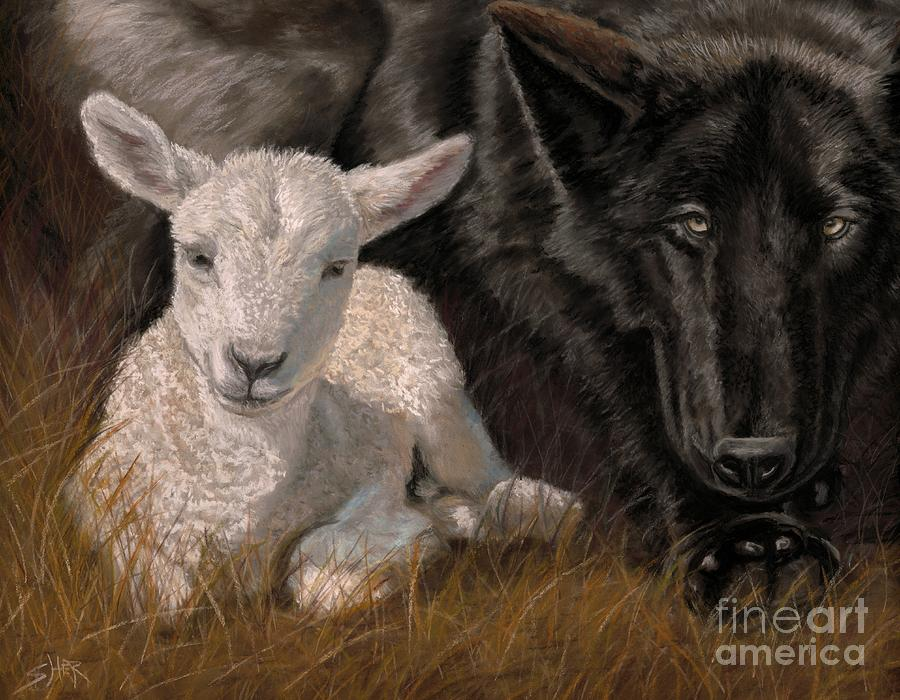 Isaiah Painting - The Wolf And The Lamb by Sheri Gordon