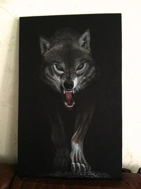 Wolf Painting - The Wolf by Margarita Sobko