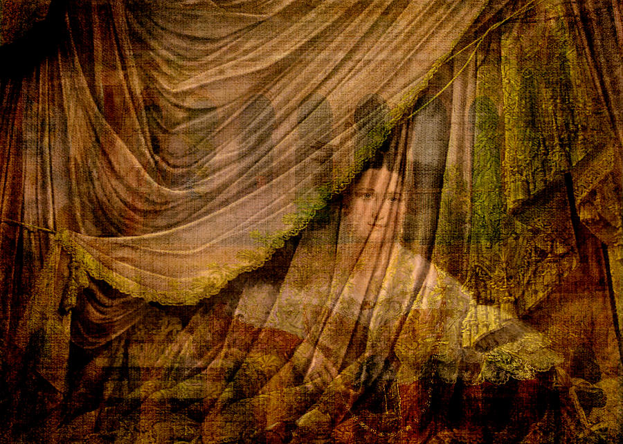 Archways Digital Art - The Woman Behind the Curtain by Sarah Vernon