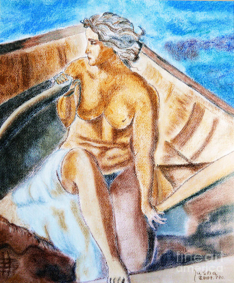 Female Nude Painting - The Woman Rower by Jasna Dragun