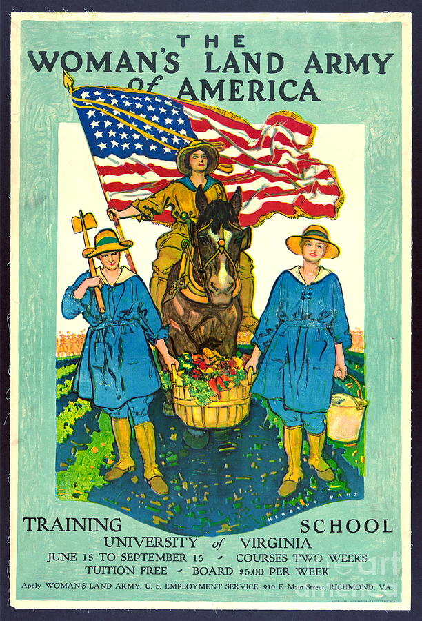 Vintage Posters Photograph - The Womans Land Army Of America 1918 by Padre Art