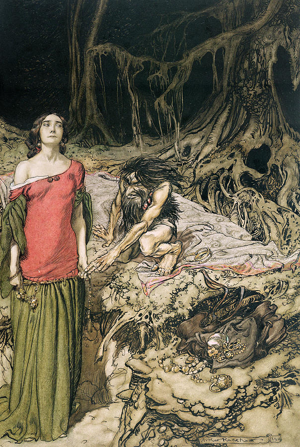 Grunhilde; Nibelungen Drawing - The Wooing Of Grimhilde The Mother Of Hagen From siegfried And The Twilight Of The Gods by Arthur Rackham