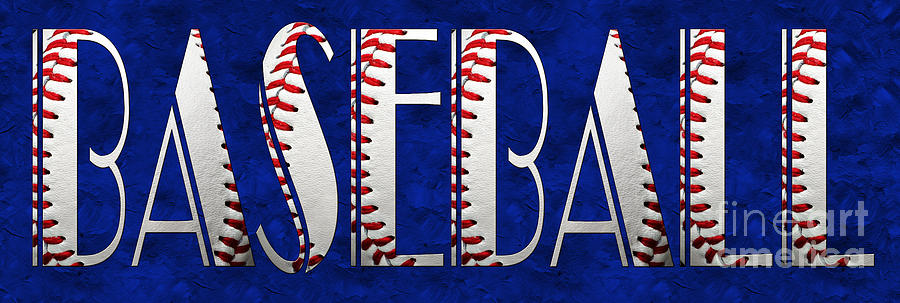 Baseball Photograph - The Word Is Baseball On Blue by Andee Design