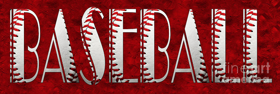 Baseball Photograph - The Word Is Baseball On Red by Andee Design