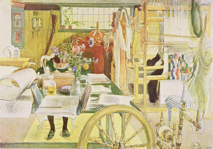 Drawing Painting - The Workroom, Pub. In Lasst Licht Hinin by Carl Larsson