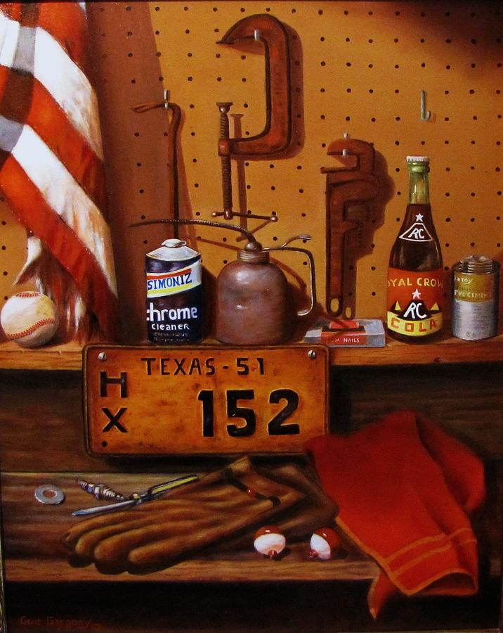 A Still Life Painting... Licenses Plate Painting - The Workshop by Gene Gregory