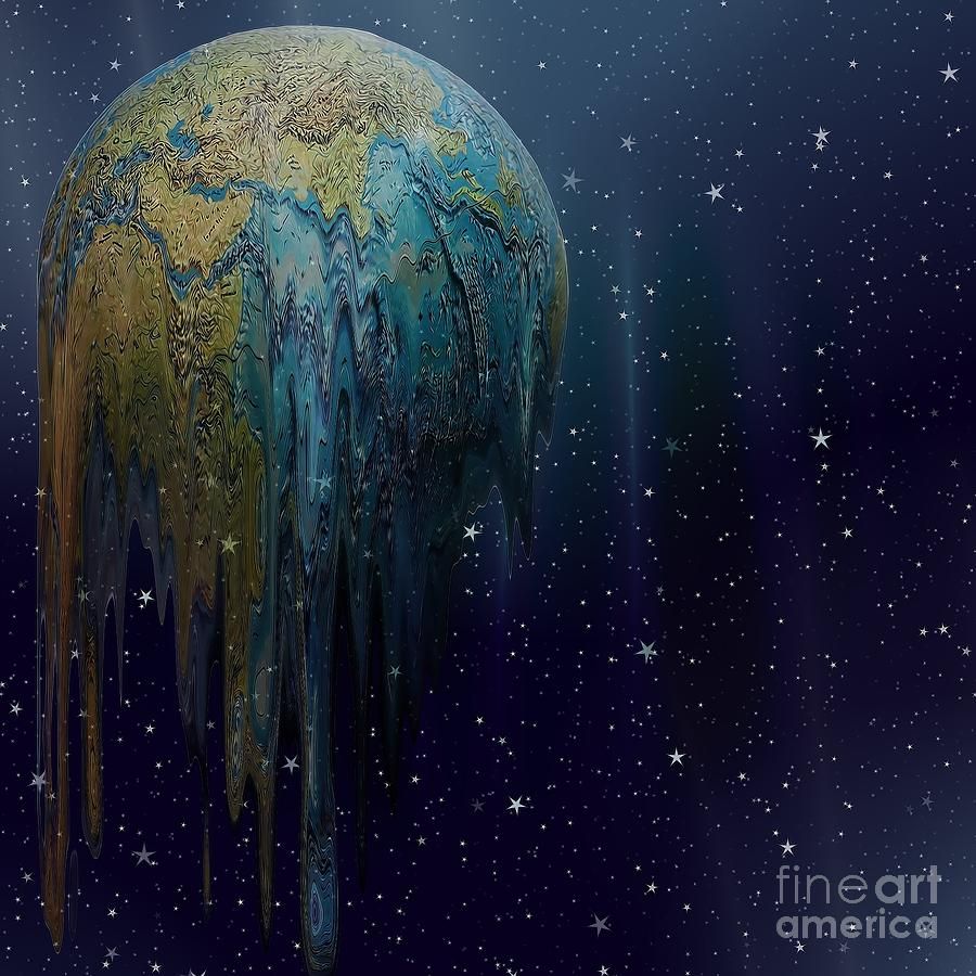 Abstract Digital Art - The World Is Melting by Liane Wright