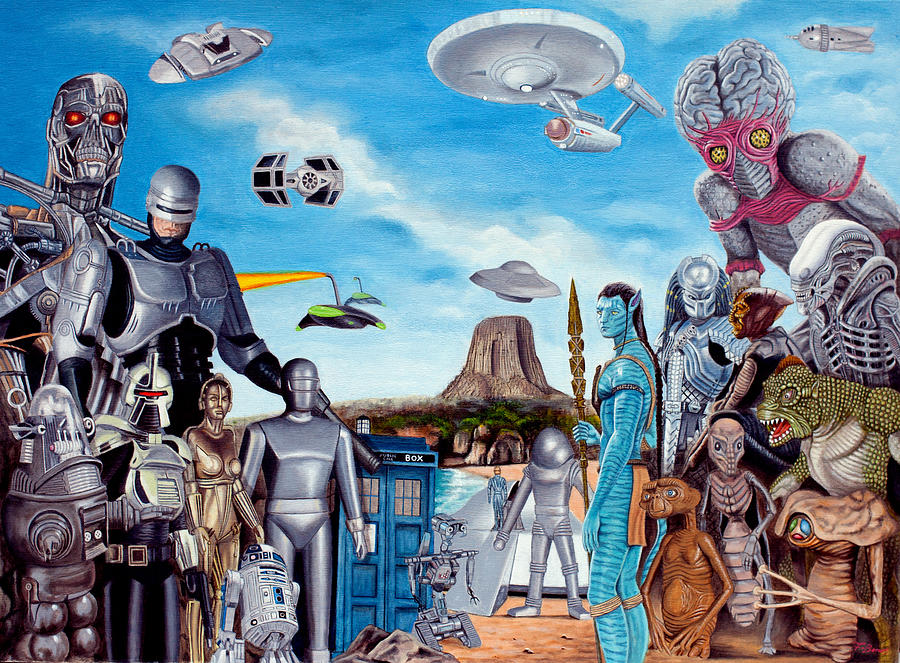 Robocop Painting - The World Of Sci Fi by Tony Banos