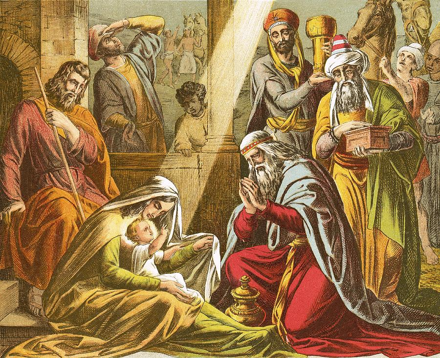 Worship Painting - The Worship Of The Wise Men  by English School