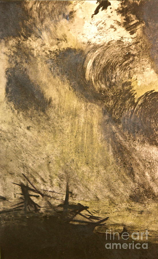 Water Painting - The Wreck- Mono Print by Deborah Talbot - Kostisin