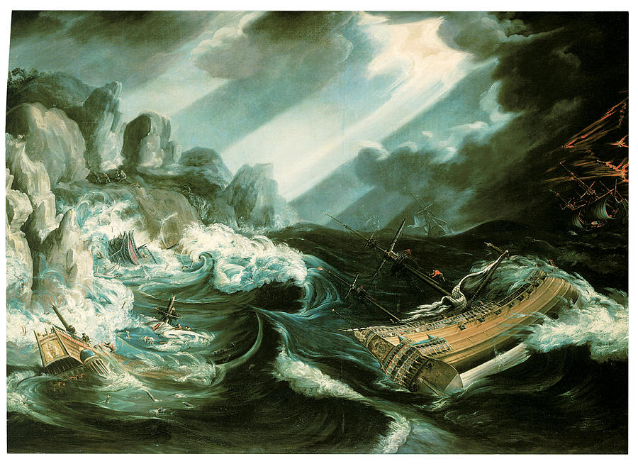 Flemish School Painting - The Wreck Of The Amsterdam by Flemish School