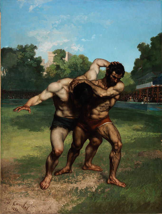 Gustave Courbet Painting - The Wrestlers by Gustave Courbet