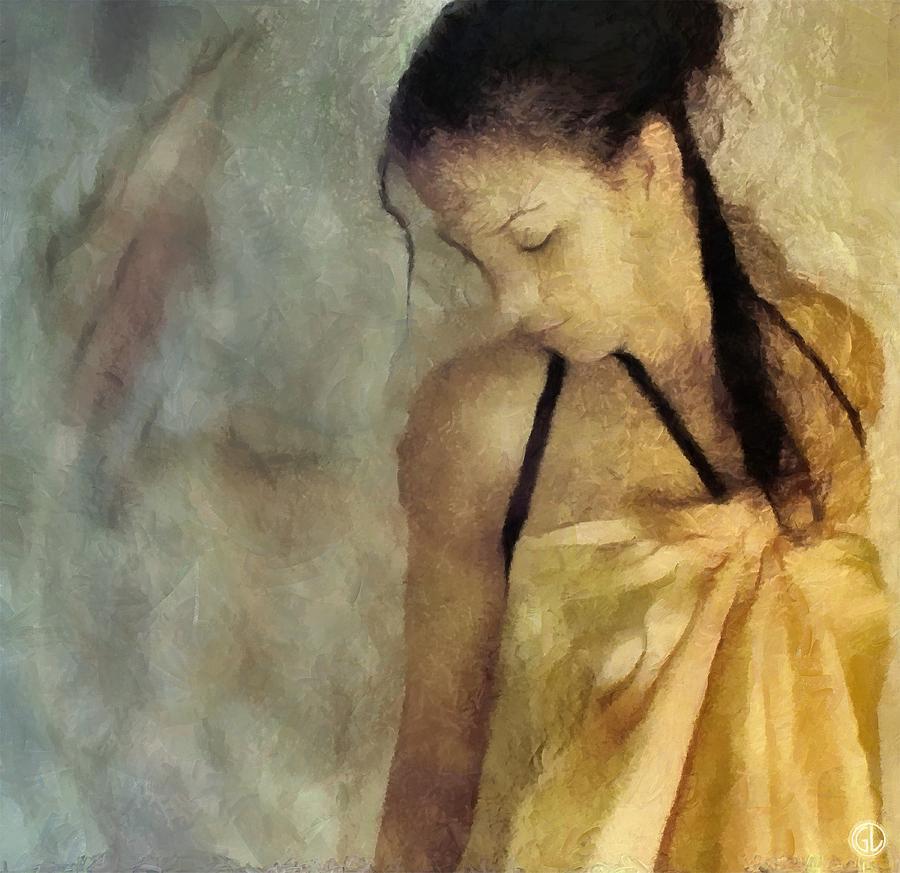 Woman Digital Art - The Yellow Dress by Gun Legler