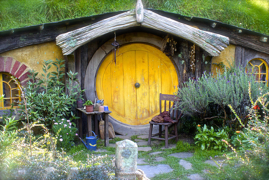 Frodo Baggins Photograph - Yellow Hobbit Door by Venetia Featherstone-Witty & Yellow Hobbit Door Photograph by Venetia Featherstone-Witty
