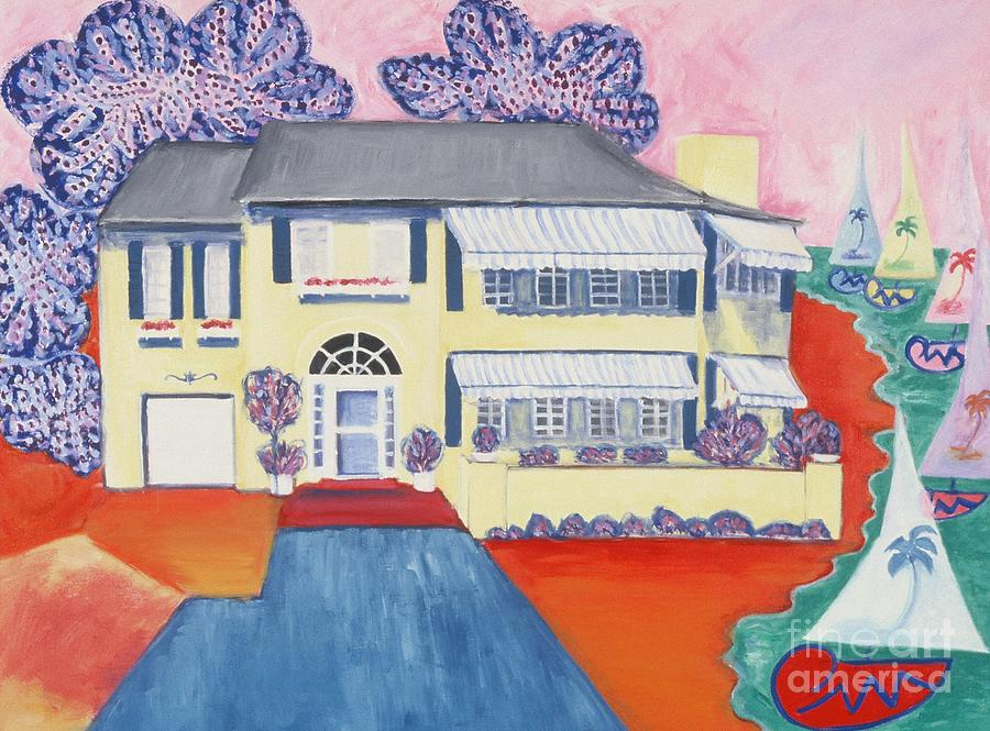 The Yellow House Painting - The Yellow House by Karen Francis