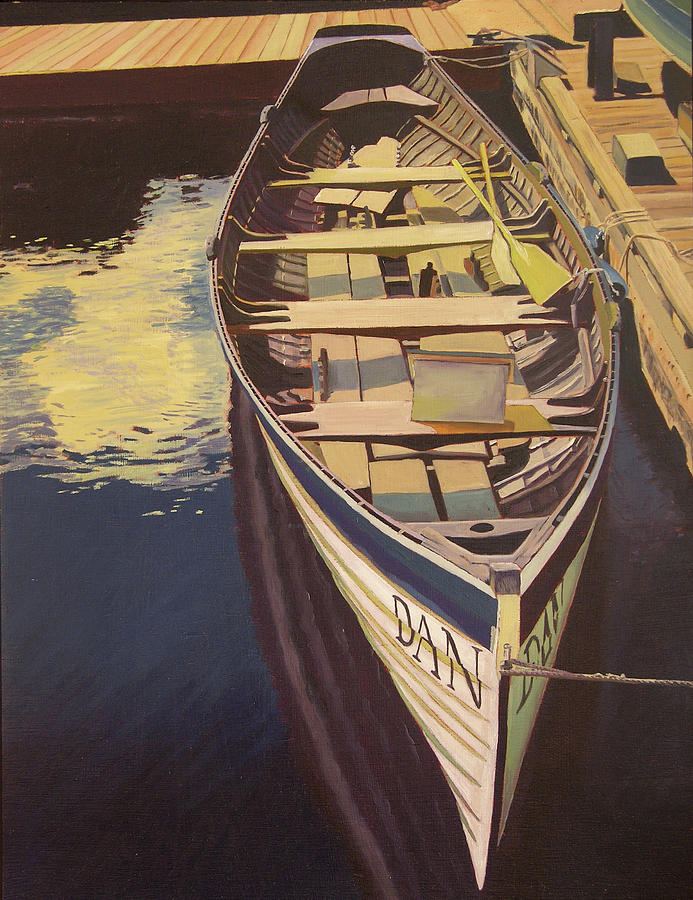 Boat Painting - The Yellow Paddle by Thu Nguyen
