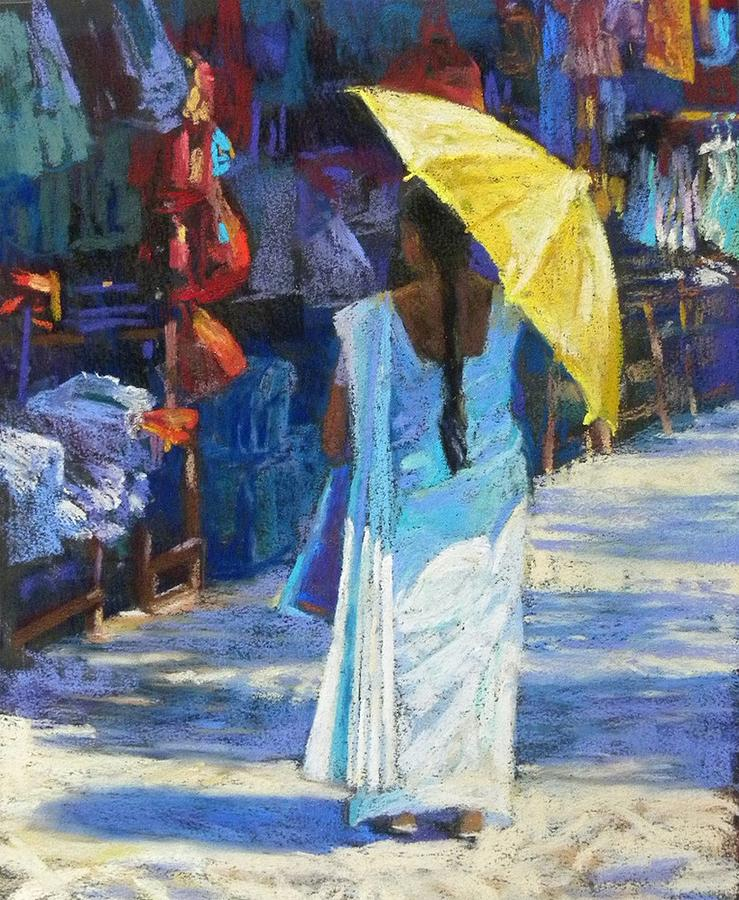Figure Painting - The Yellow Umbrella by Jackie Simmonds