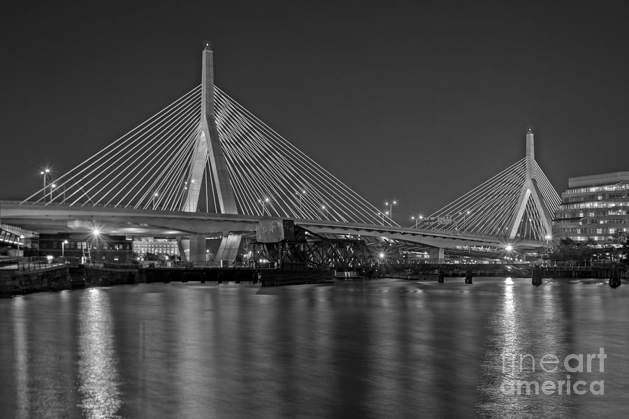 Boston Photograph - The Zakim Bridge Bw by Susan Candelario