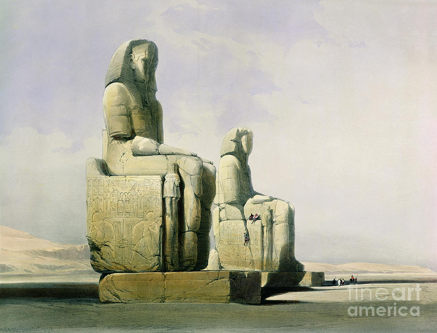 Statues Painting - Thebes by David Roberts