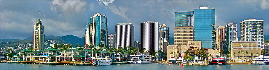 Cityscape Photograph - Theboat At Aloha Tower - No.113 by Joe Finney