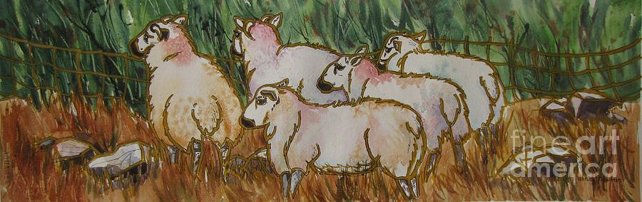 Sheep Painting - The_grass_is_greener by Nancy Newman