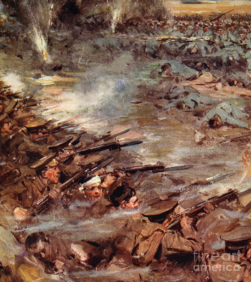 World War I Painting - Their Men Advanced In Dense Masses by Cyrus Cuneo