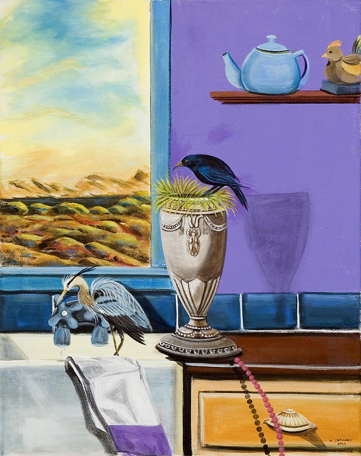 Kitchen Scene Painting - There Are Birds In The Kitchen Sink by Susan Culver