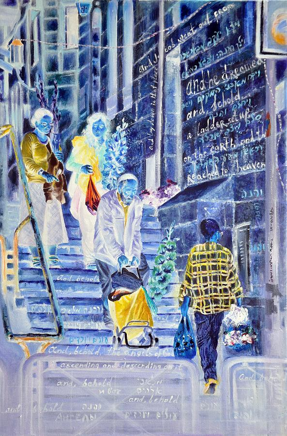 Jerusalem Painting - There Is A Ladder Set Up On The Earth by Nekoda  Singer