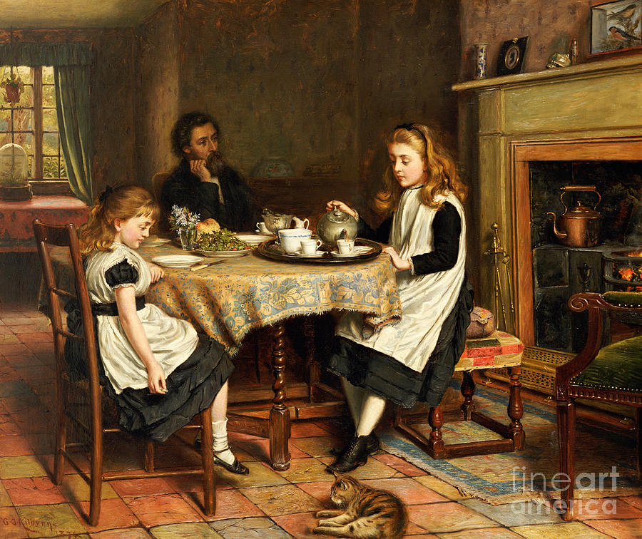 Interior; Victorian; Family; Father; Daughter; Daughters; Girls; Female; Children; Playing Mother; Tea; Pouring; Motherless; Widowed; Widower; Mourning; Seated; Table Painting - There Is No Fireside... by George Goodwin Kilburne