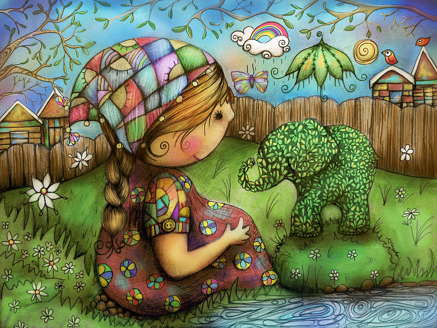 Elephant Painting - Theres An Elephant In My Garden by Karin Taylor
