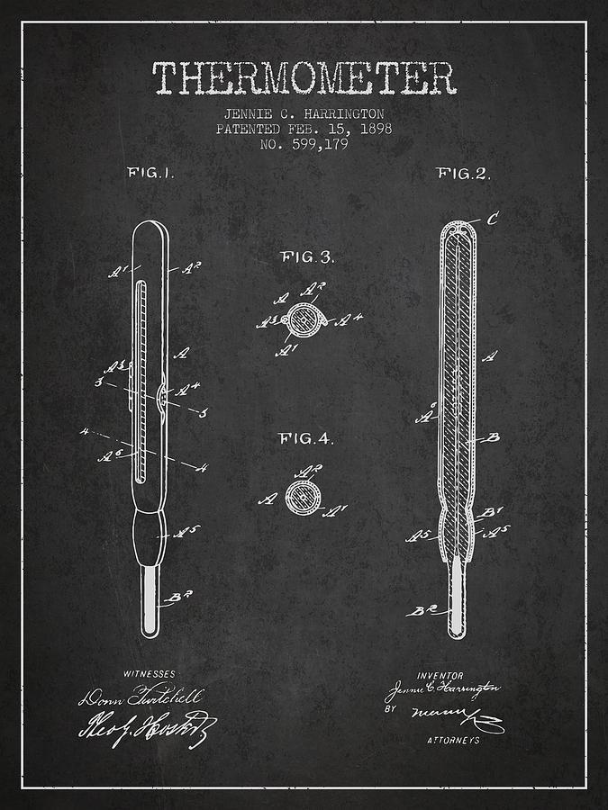 Thermometer Patent From 1898 - Dark Digital Art