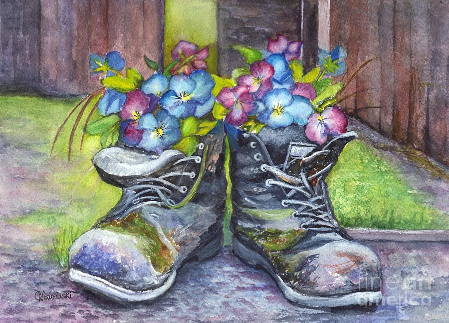 Boots Painting - These Boots Were Made For Planting by Carol Wisniewski