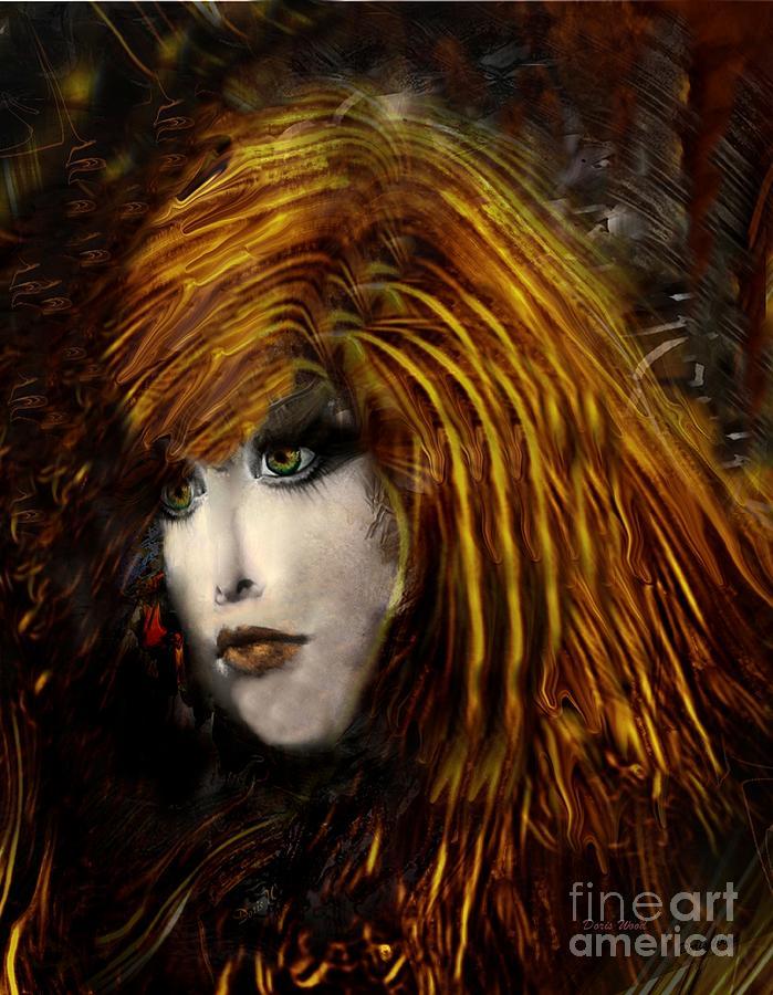 Portrait Digital Art Digital Art - They Call Her Red by Doris Wood