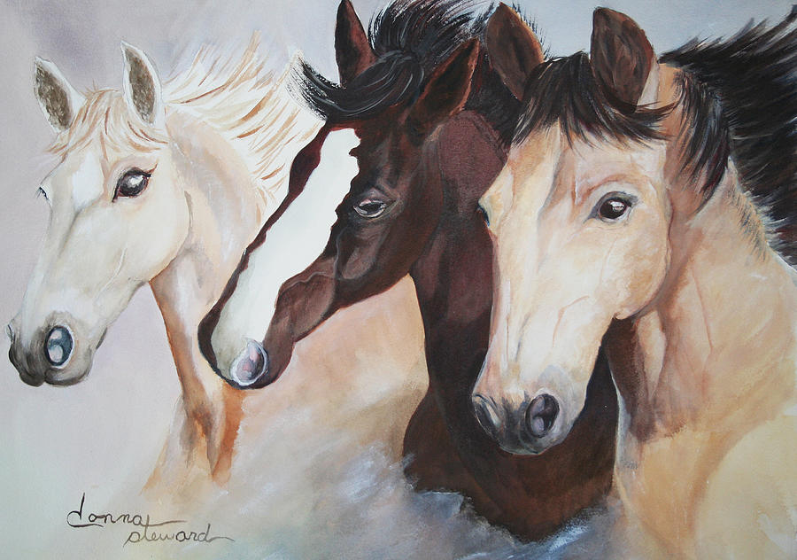 Horses Painting - They Run Wild by Donna Steward