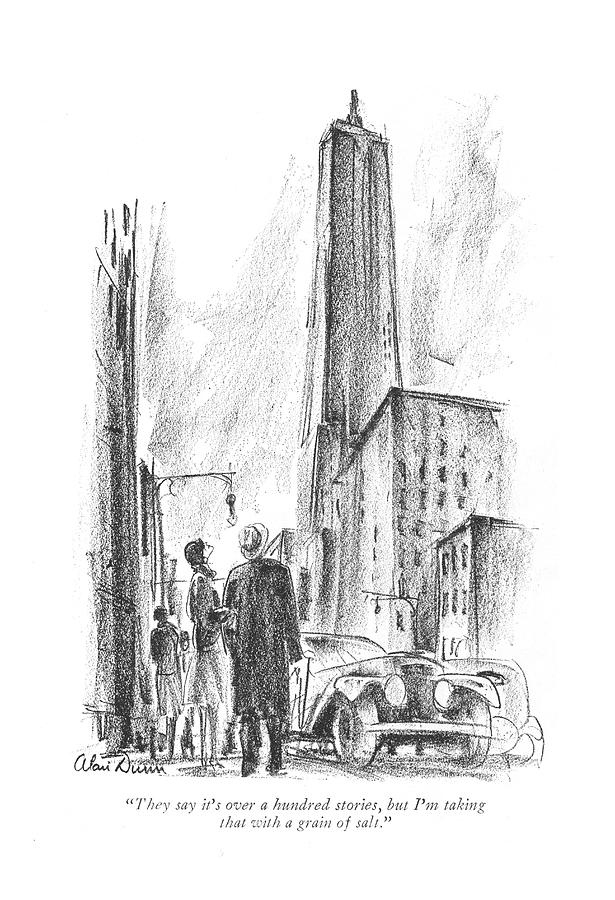 Over A Hundred Stories Drawing by Alan Dunn