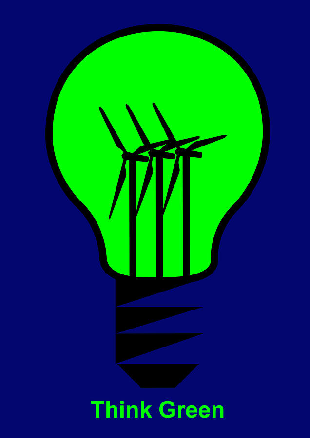 Think Green Digital Art - Think Green by Asbjorn Lonvig